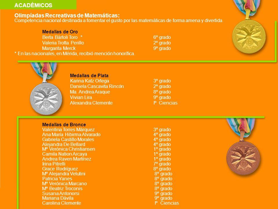 ACADÉMICOS Olimpíadas Recreativas de Matemáticas: Competencia nacional destinada a fomentar el gusto por las matemáticas de forma amena y divertida. M