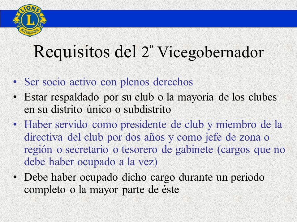 Requisitos del 2 º Vicegobernador Ser socio activo con plenos derechos Estar respaldado por su club o la mayoría de los clubes en su distrito único o