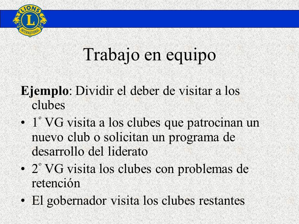 Trabajo en equipo Ejemplo: Dividir el deber de visitar a los clubes 1 º VG visita a los clubes que patrocinan un nuevo club o solicitan un programa de