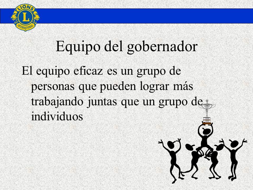 Equipo del gobernador El equipo eficaz es un grupo de personas que pueden lograr más trabajando juntas que un grupo de individuos