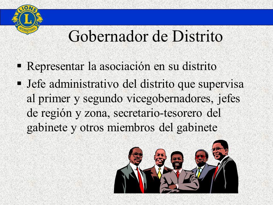 Gobernador de Distrito Representar la asociación en su distrito Jefe administrativo del distrito que supervisa al primer y segundo vicegobernadores, j