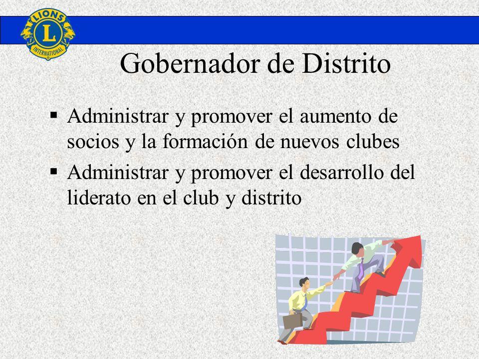 Gobernador de Distrito Administrar y promover el aumento de socios y la formación de nuevos clubes Administrar y promover el desarrollo del liderato e