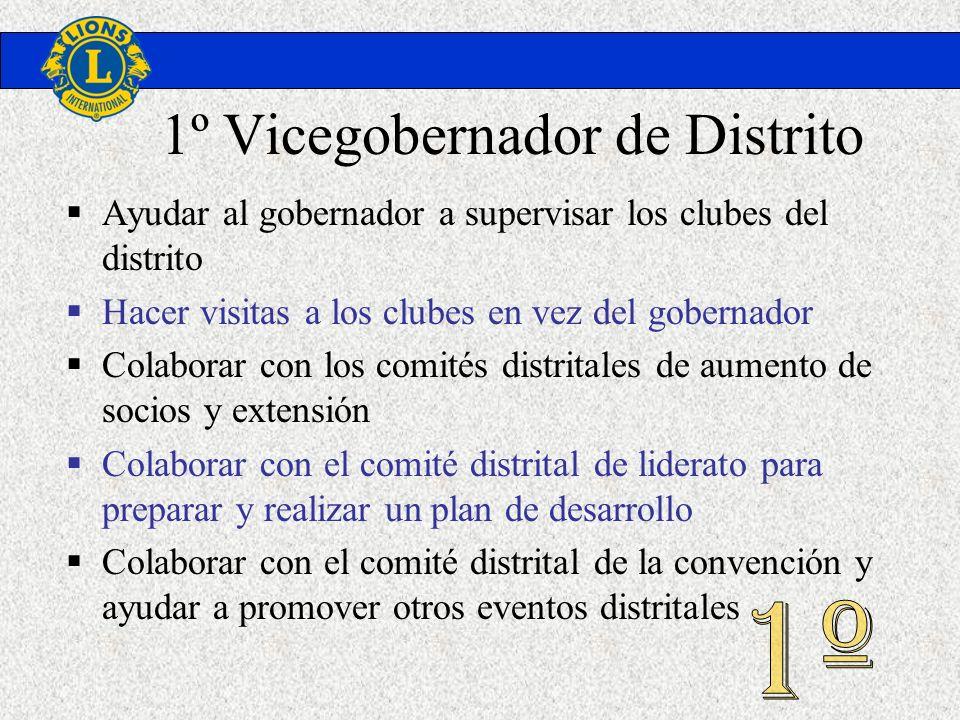 1º Vicegobernador de Distrito Ayudar al gobernador a supervisar los clubes del distrito Hacer visitas a los clubes en vez del gobernador Colaborar con