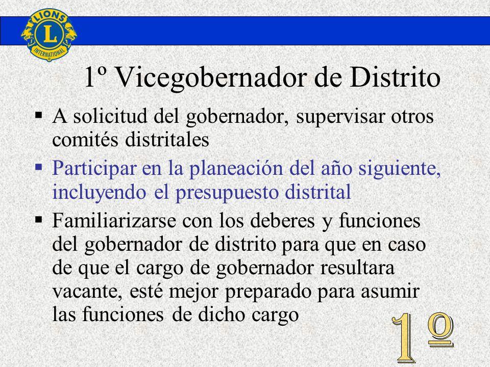 1º Vicegobernador de Distrito A solicitud del gobernador, supervisar otros comités distritales Participar en la planeación del año siguiente, incluyen