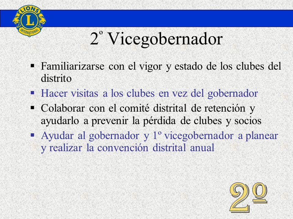 2 º Vicegobernador Familiarizarse con el vigor y estado de los clubes del distrito Hacer visitas a los clubes en vez del gobernador Colaborar con el c