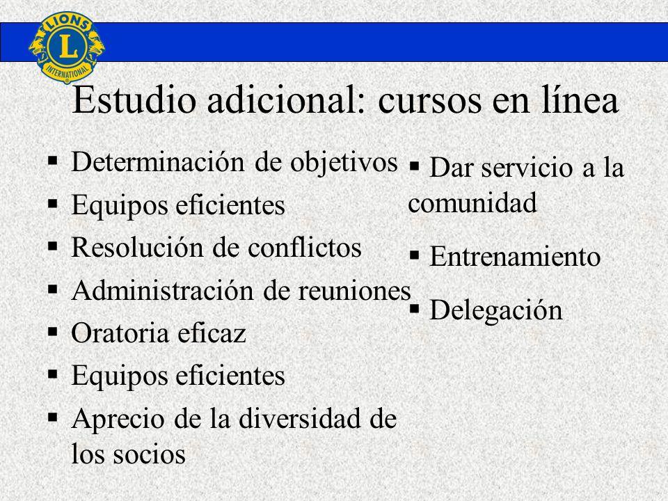 Estudio adicional: cursos en línea Determinación de objetivos Equipos eficientes Resolución de conflictos Administración de reuniones Oratoria eficaz