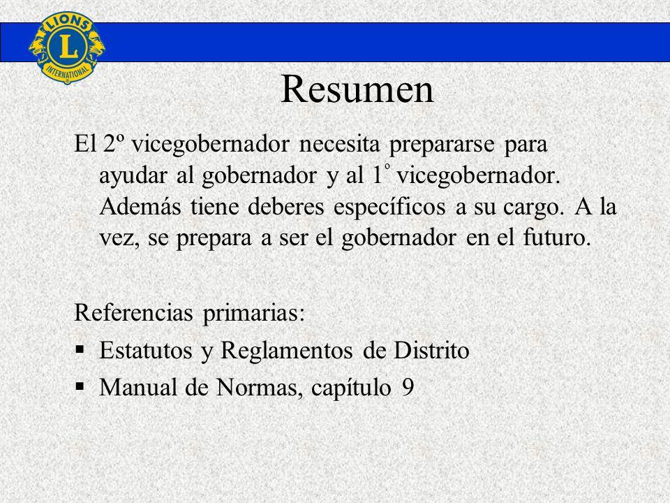 Resumen El 2º vicegobernador necesita prepararse para ayudar al gobernador y al 1 º vicegobernador. Además tiene deberes específicos a su cargo. A la