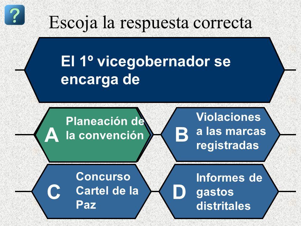 Escoja la respuesta correcta El 1º vicegobernador se encarga de Planeación de la convención A B Violaciones a las marcas registradas Concurso Cartel d