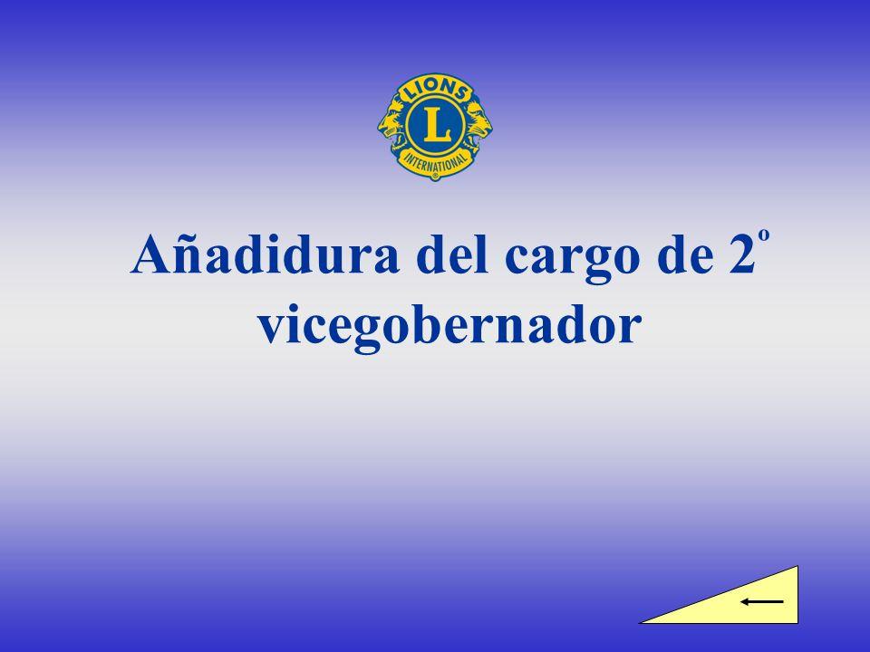 Equipo del gobernador Gobernador de Distrito 1 º Vicegobernador 2 º Vicegobernador Añadidura aprobada por la directiva de Lions Clubs International en marzo de 2007