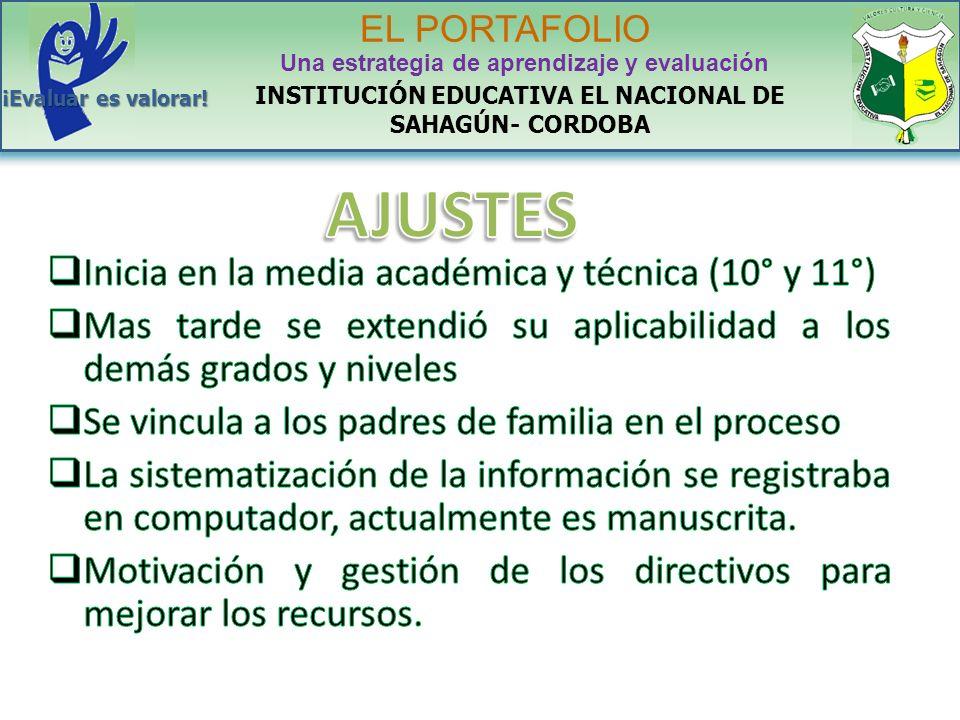 INSTITUCIÓN EDUCATIVA EL NACIONAL DE SAHAGÚN- CORDOBA EL PORTAFOLIO Una estrategia de aprendizaje y evaluación ¡Evaluar es valorar!