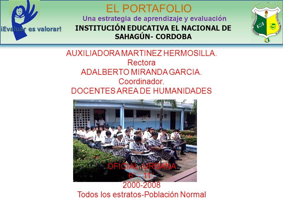 AUXILIADORA MARTINEZ HERMOSILLA. Rectora ADALBERTO MIRANDA GARCIA. Coordinador. DOCENTES AREA DE HUMANIDADES OFICIAL- URBANA 6° - 11° 2000-2008 Todos