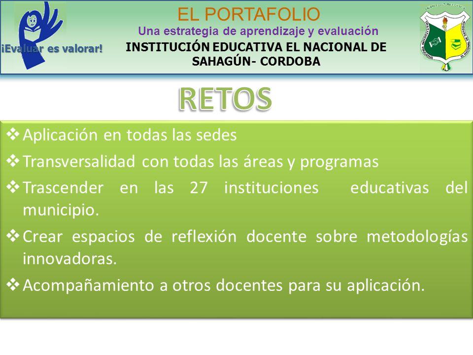 Aplicación en todas las sedes Transversalidad con todas las áreas y programas Trascender en las 27 instituciones educativas del municipio. Crear espac