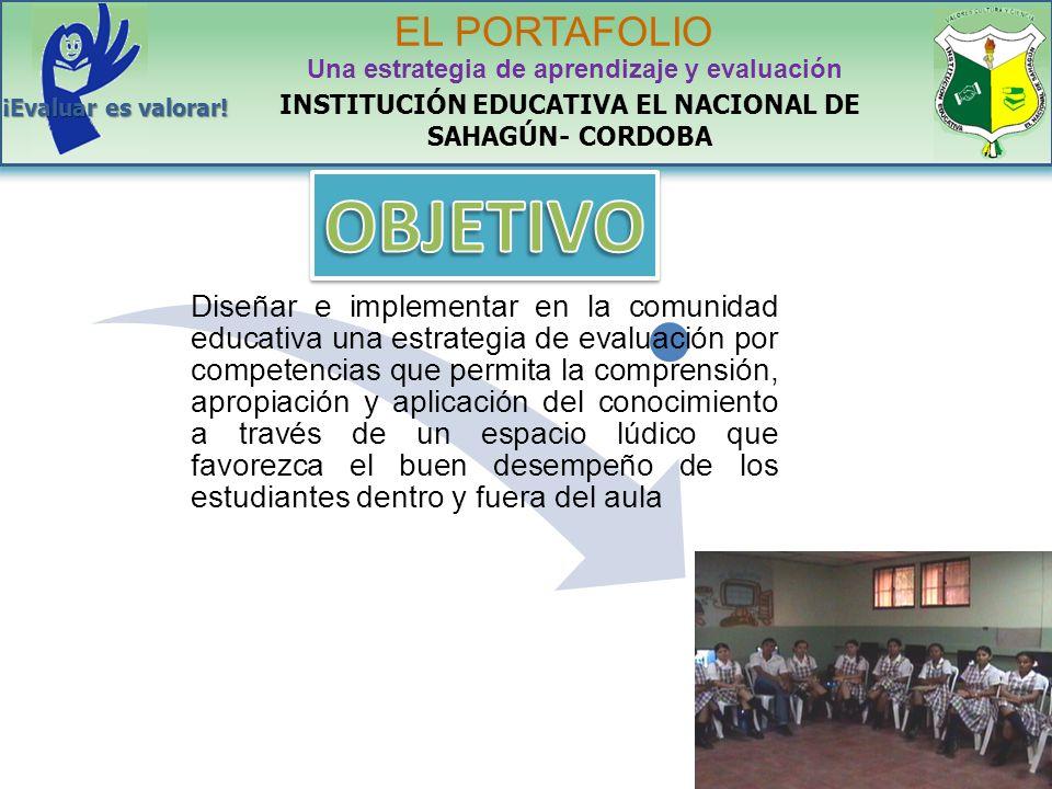 INSTITUCIÓN EDUCATIVA EL NACIONAL DE SAHAGÚN- CORDOBA EL PORTAFOLIO Una estrategia de aprendizaje y evaluación ¡Evaluar es valorar! Diseñar e implemen