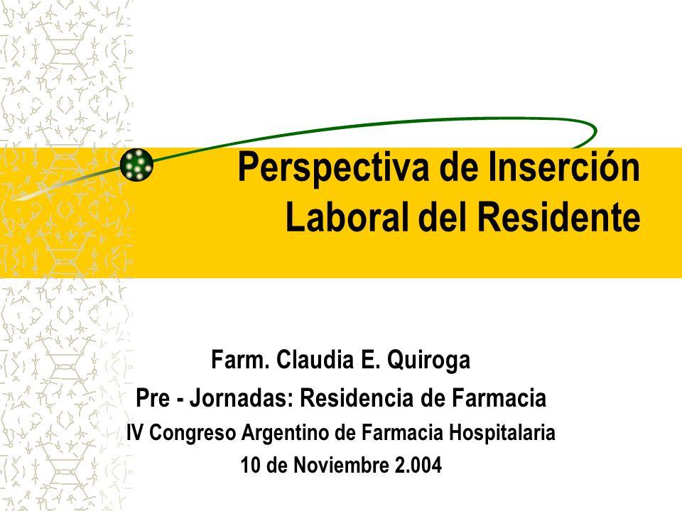 Perspectiva de Inserción Laboral del Residente Farm.