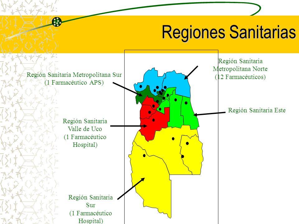 Regiones Sanitarias Región Sanitaria Valle de Uco (1 Farmacéutico Hospital) Región Sanitaria Este Región Sanitaria Sur (1 Farmacéutico Hospital) Región Sanitaria Metropolitana Norte (12 Farmacéuticos) Región Sanitaria Metropolitana Sur (1 Farmacéutico APS)