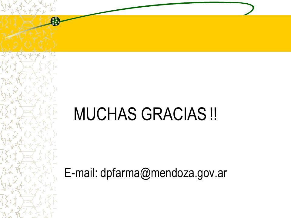 MUCHAS GRACIAS !! E-mail: dpfarma@mendoza.gov.ar