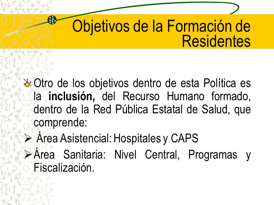 Objetivos de la Formación de Residentes Otro de los objetivos dentro de esta Política es la inclusión, del Recurso Humano formado, dentro de la Red Pública Estatal de Salud, que comprende: Área Asistencial: Hospitales y CAPS Área Sanitaria: Nivel Central, Programas y Fiscalización.