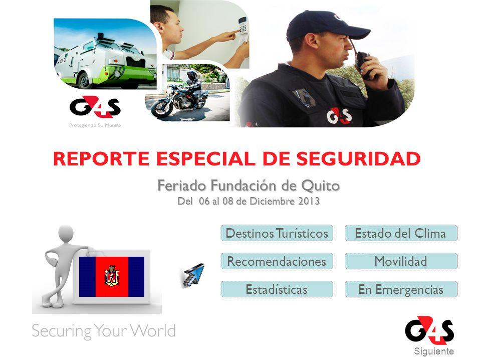 REPORTE ESPECIAL DE SEGURIDAD Siguiente Feriado Fundación de Quito Feriado Fundación de Quito Del 06 al 08 de Diciembre 2013 Del 06 al 08 de Diciembre 2013 Destinos TurísticosEstado del Clima Recomendaciones Estadísticas Movilidad En Emergencias