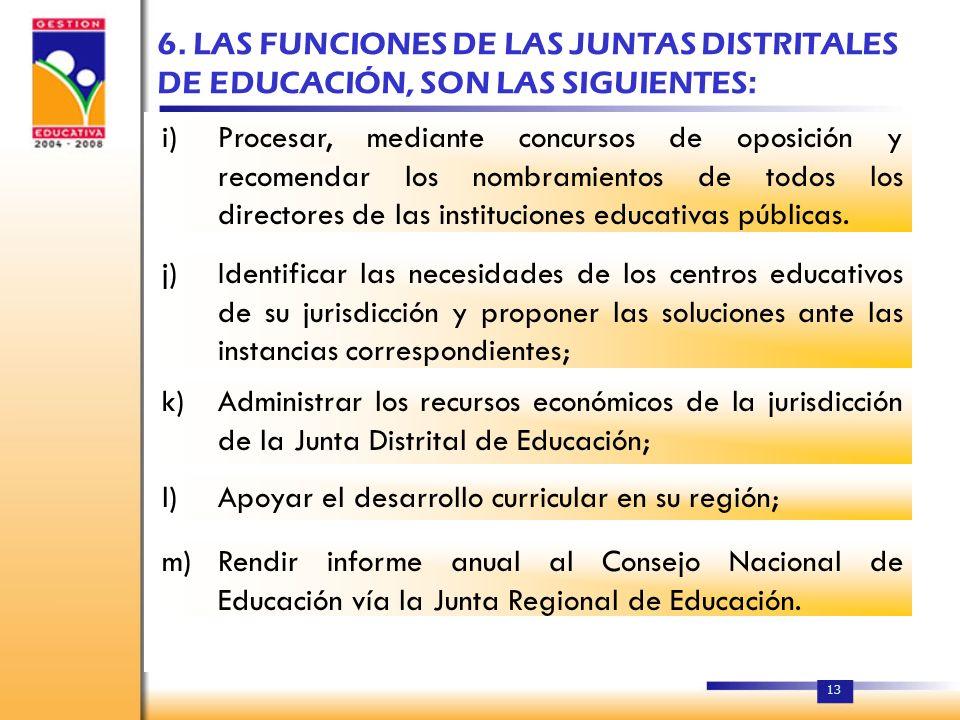 12 5. LAS JUNTAS DISTRITALES DE EDUCACIÓN Se crean las Juntas Distritales de Educación como órganos descentralizados de gestión, dependientes de las D