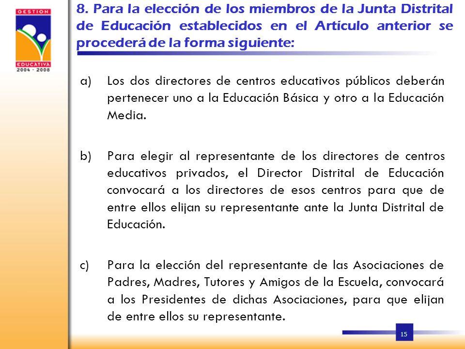 14 7. La Junta Distrital de Educación, estará conformada por: a)Director del Distrito; b)Dos Directores de centros educativos públicos; c)Un director