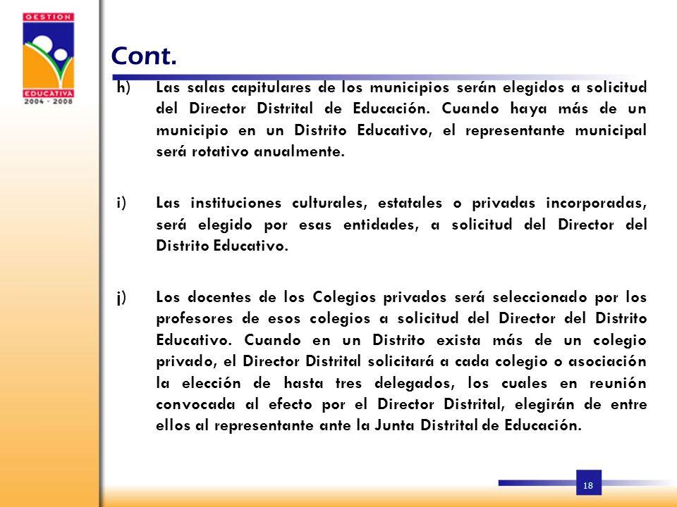 17 Cont. f)La elección del representante de las iglesias católicas y cristianas no católicas, será hecha por las congregaciones de sus respectivas igl