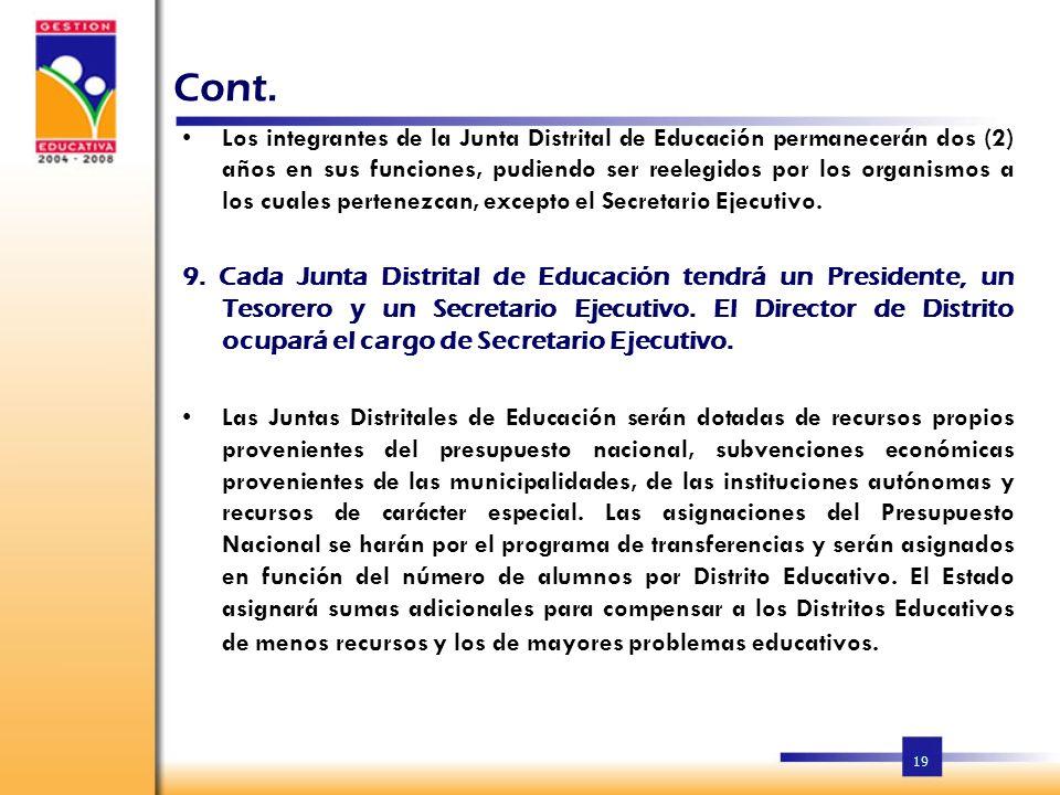 18 Cont. h)Las salas capitulares de los municipios serán elegidos a solicitud del Director Distrital de Educación. Cuando haya más de un municipio en