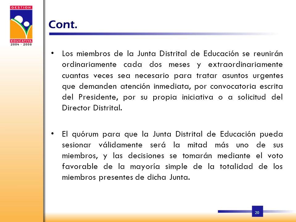19 Cont. Los integrantes de la Junta Distrital de Educación permanecerán dos (2) años en sus funciones, pudiendo ser reelegidos por los organismos a l