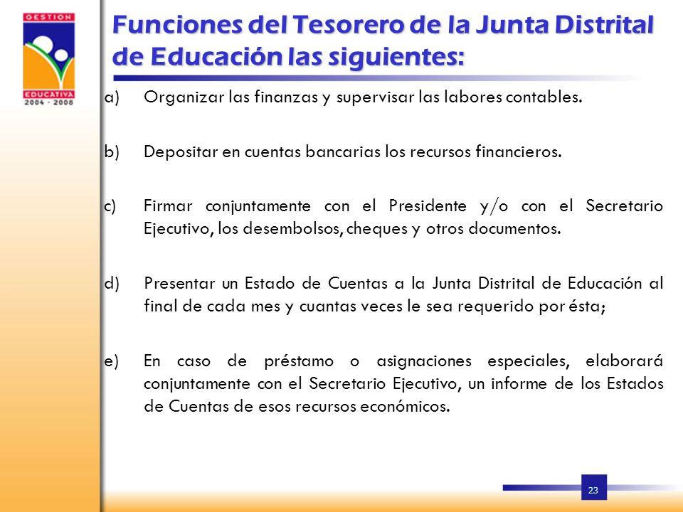 23 Funciones del Tesorero de la Junta Distrital de Educación las siguientes: a)Organizar las finanzas y supervisar las labores contables.