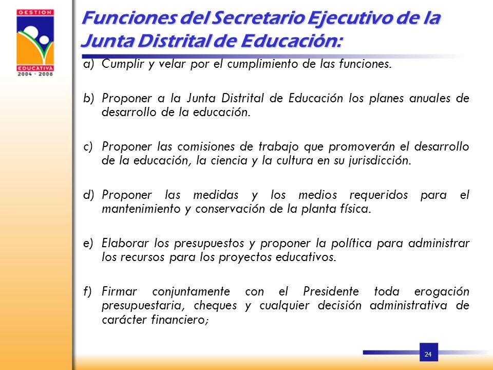 24 Funciones del Secretario Ejecutivo de la Junta Distrital de Educación: a)Cumplir y velar por el cumplimiento de las funciones.