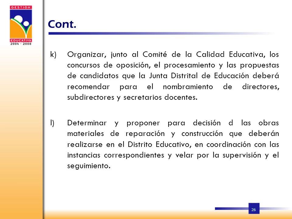 25 Cont. g)Elaborar las agendas de las reuniones de la Junta Distrital de Educación, redactar las actas con los resultados de dichas reuniones, firmar