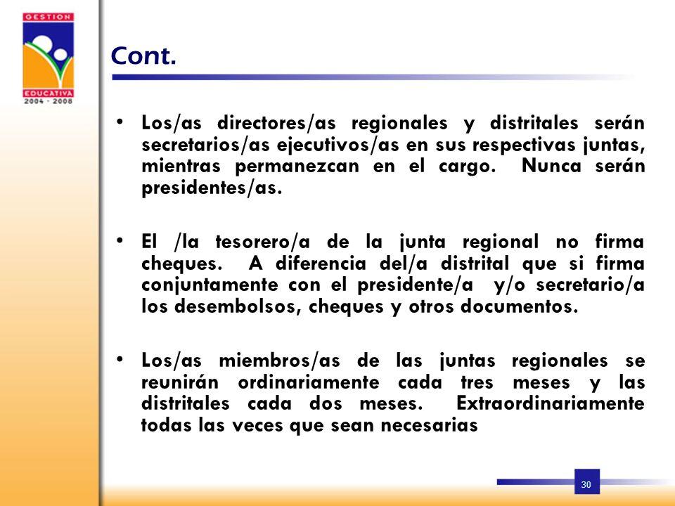 29 Cont. La Junta Regional debe rendir un informe a la Secretaría de Educación cada seis meses, sobre su funcionamiento y el de las demás juntas.La Ju