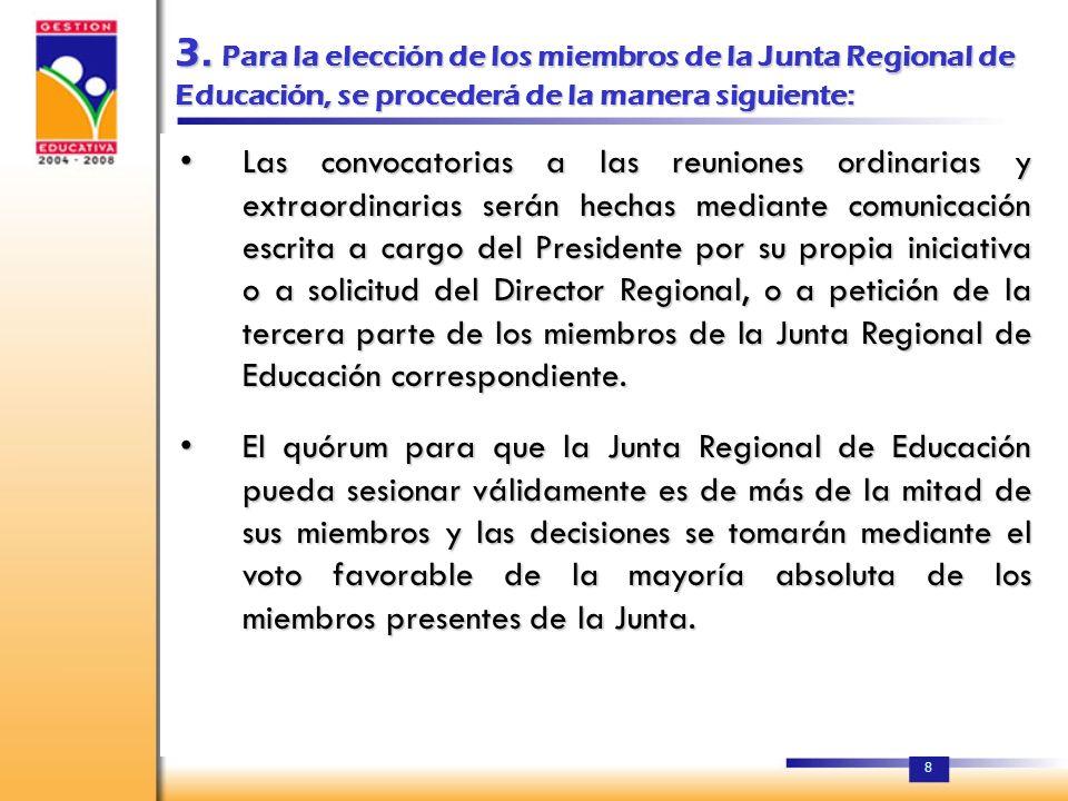 7 2. CADA JUNTA REGIONAL DE EDUCACIÓN, ESTARÁ CONFORMADA POR: a)El Director Regional de Educación, que representa al Secretario de Estado de Educación