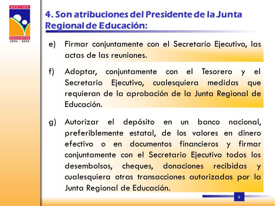 8 3. Para la elección de los miembros de la Junta Regional de Educación, se procederá de la manera siguiente: El Consejo Estudiantil de cada Centro de
