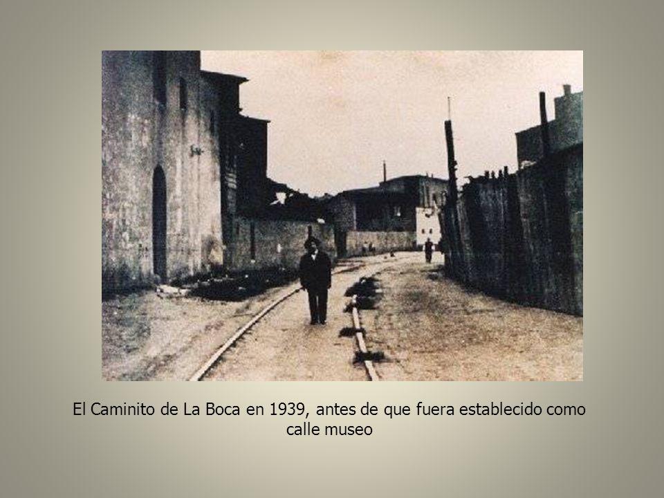 El Caminito de La Boca en 1939, antes de que fuera establecido como calle museo