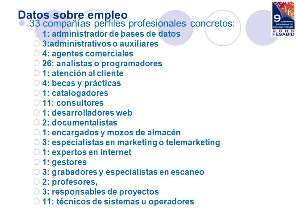 Datos sobre empleo 33 compañías perfiles profesionales concretos: 1: administrador de bases de datos 3:administrativos o auxiliares 4: agentes comerci