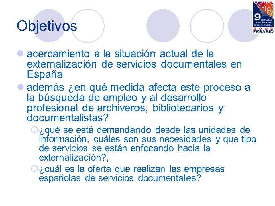 Método la recogida de las licitaciones publicadas en el BOE de servicios documentales en la Administración Central durante 2003 la recogida de datos a través de las páginas web de empresas españolas para conocer su oferta de outsourcing de tareas documentales.