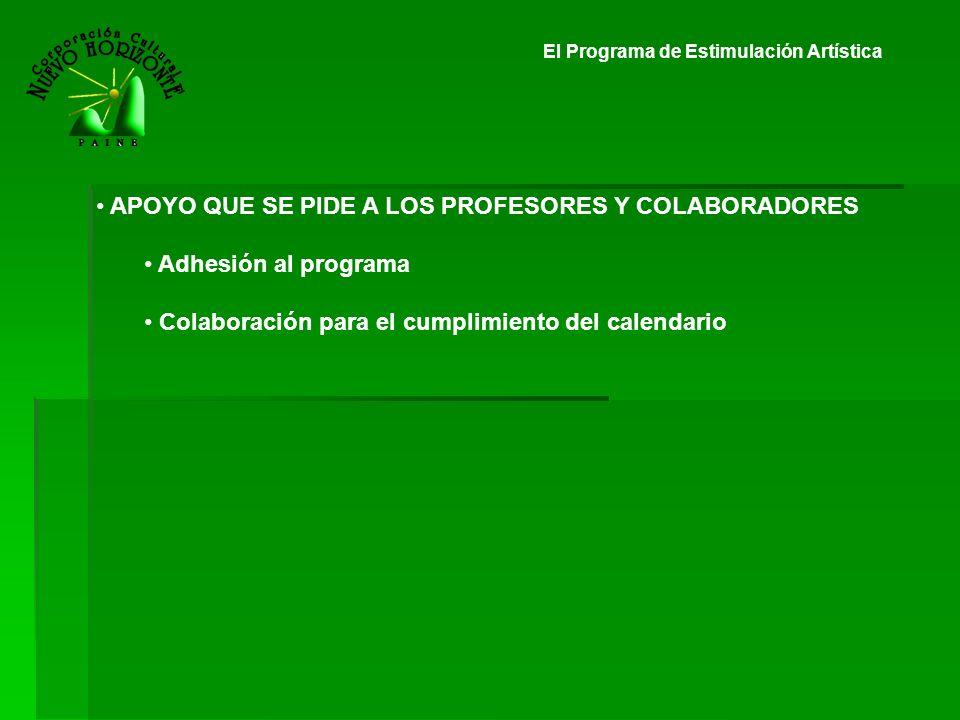El Programa de Estimulación Artística APOYO QUE SE PIDE A LOS PROFESORES Y COLABORADORES Adhesión al programa Colaboración para el cumplimiento del ca