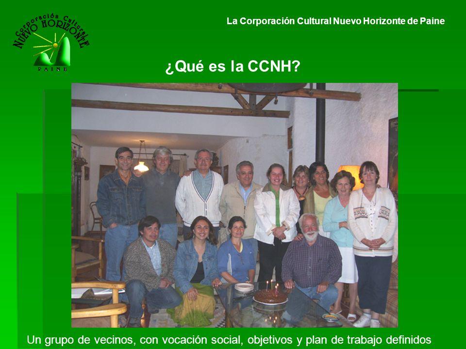 ¿Qué es la CCNH? La Corporación Cultural Nuevo Horizonte de Paine Un grupo de vecinos, con vocación social, objetivos y plan de trabajo definidos