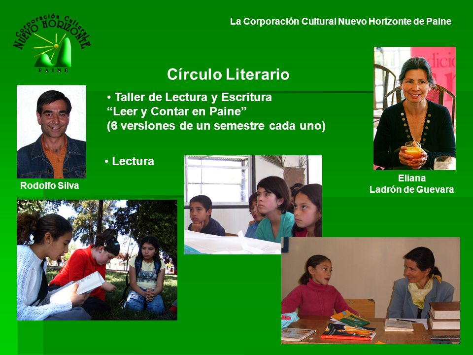 Círculo Literario Taller de Lectura y Escritura Leer y Contar en Paine (6 versiones de un semestre cada uno) Lectura Eliana Ladrón de Guevara Rodolfo