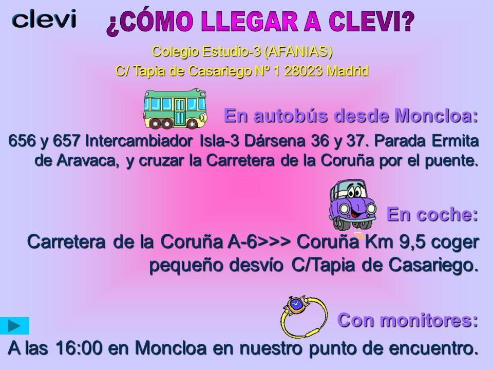 Colegio Estudio-3 (AFANIAS) C/ Tapia de Casariego Nº 1 28023 Madrid En autobús desde Moncloa: 656 y 657 Intercambiador Isla-3 Dársena 36 y 37.