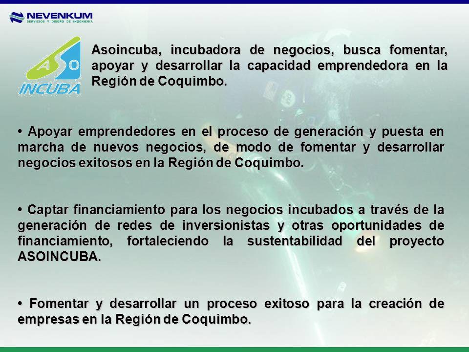Asoincuba, incubadora de negocios, busca fomentar, apoyar y desarrollar la capacidad emprendedora en la Región de Coquimbo. Apoyar emprendedores en el