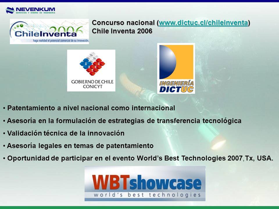 Concurso nacional (www.dictuc.cl/chileinventa) www.dictuc.cl/chileinventa Chile Inventa 2006 Patentamiento a nivel nacional como internacional Asesorí