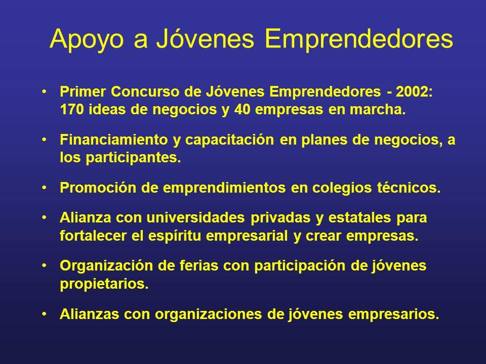 Apoyo a Jóvenes Emprendedores Primer Concurso de Jóvenes Emprendedores - 2002: 170 ideas de negocios y 40 empresas en marcha. Financiamiento y capacit