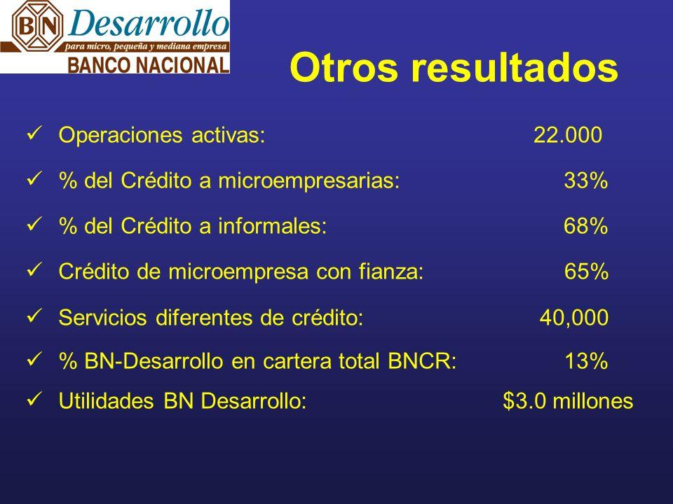 Operaciones activas: 22.000 % del Crédito a microempresarias:33% % del Crédito a informales:68% Crédito de microempresa con fianza: 65% Servicios diferentes de crédito: 40,000 % BN-Desarrollo en cartera total BNCR:13% Utilidades BN Desarrollo: $3.0 millones Otros resultados