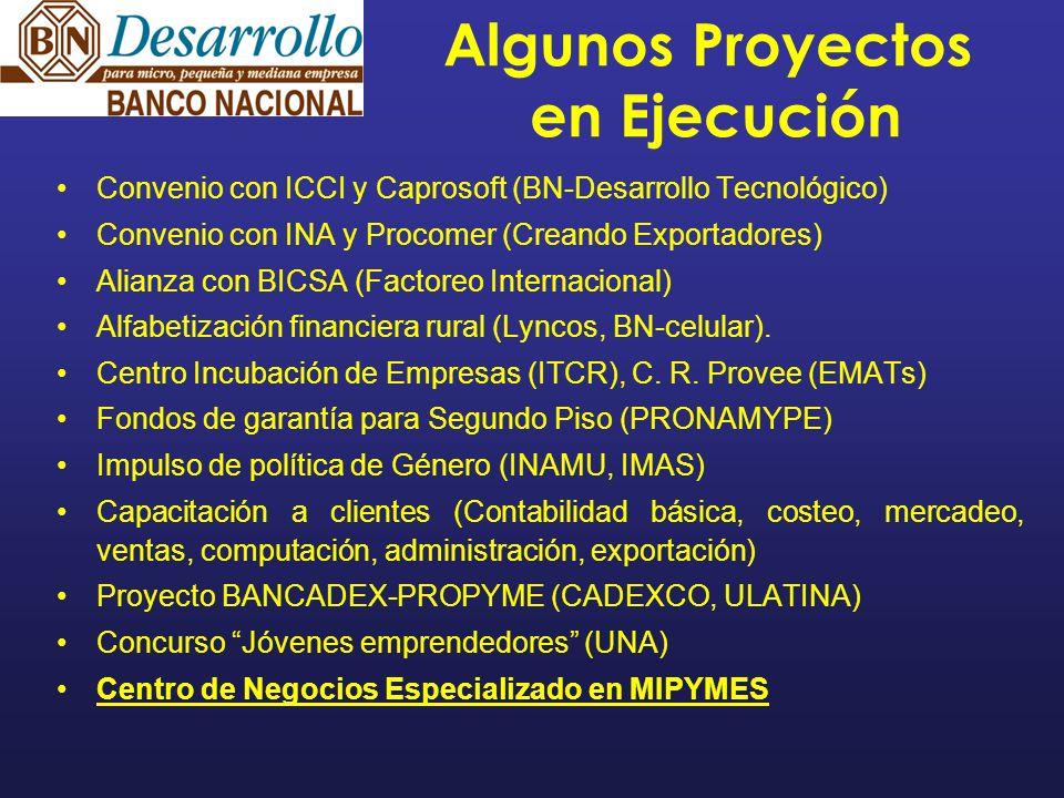 Algunos Proyectos en Ejecución Convenio con ICCI y Caprosoft (BN-Desarrollo Tecnológico) Convenio con INA y Procomer (Creando Exportadores) Alianza con BICSA (Factoreo Internacional) Alfabetización financiera rural (Lyncos, BN-celular).