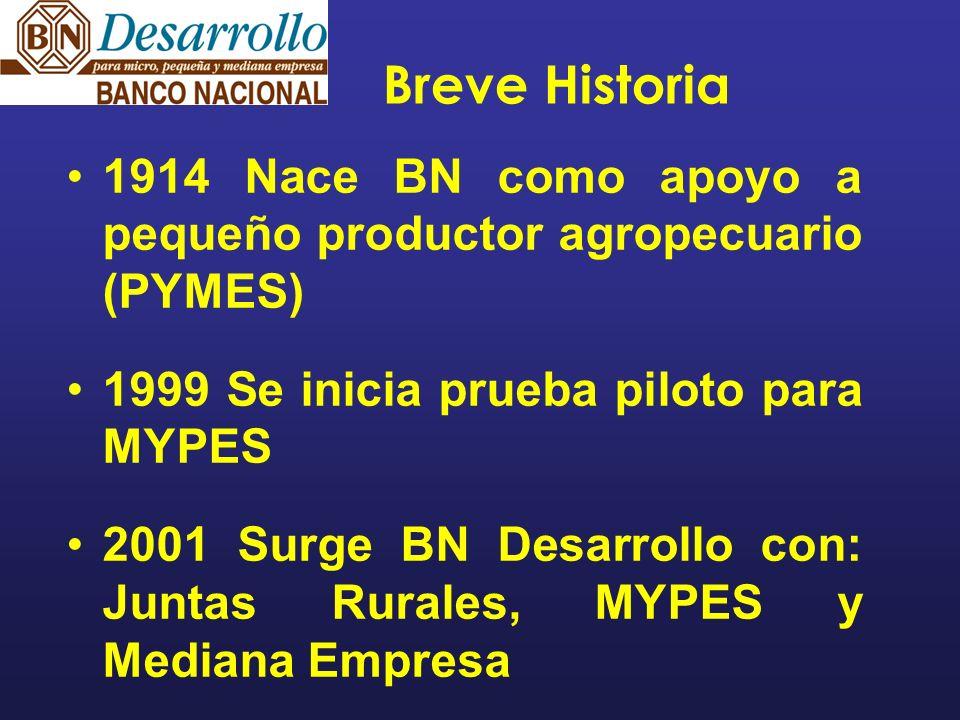 Breve Historia 1914 Nace BN como apoyo a pequeño productor agropecuario (PYMES) 1999 Se inicia prueba piloto para MYPES 2001 Surge BN Desarrollo con: Juntas Rurales, MYPES y Mediana Empresa