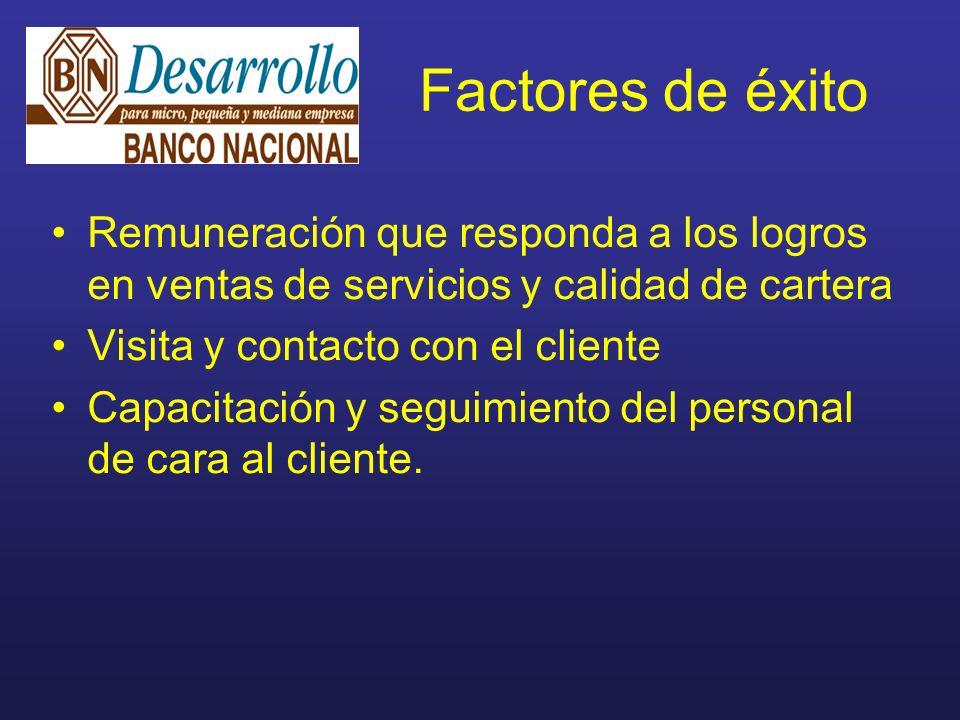 Factores de éxito Remuneración que responda a los logros en ventas de servicios y calidad de cartera Visita y contacto con el cliente Capacitación y seguimiento del personal de cara al cliente.