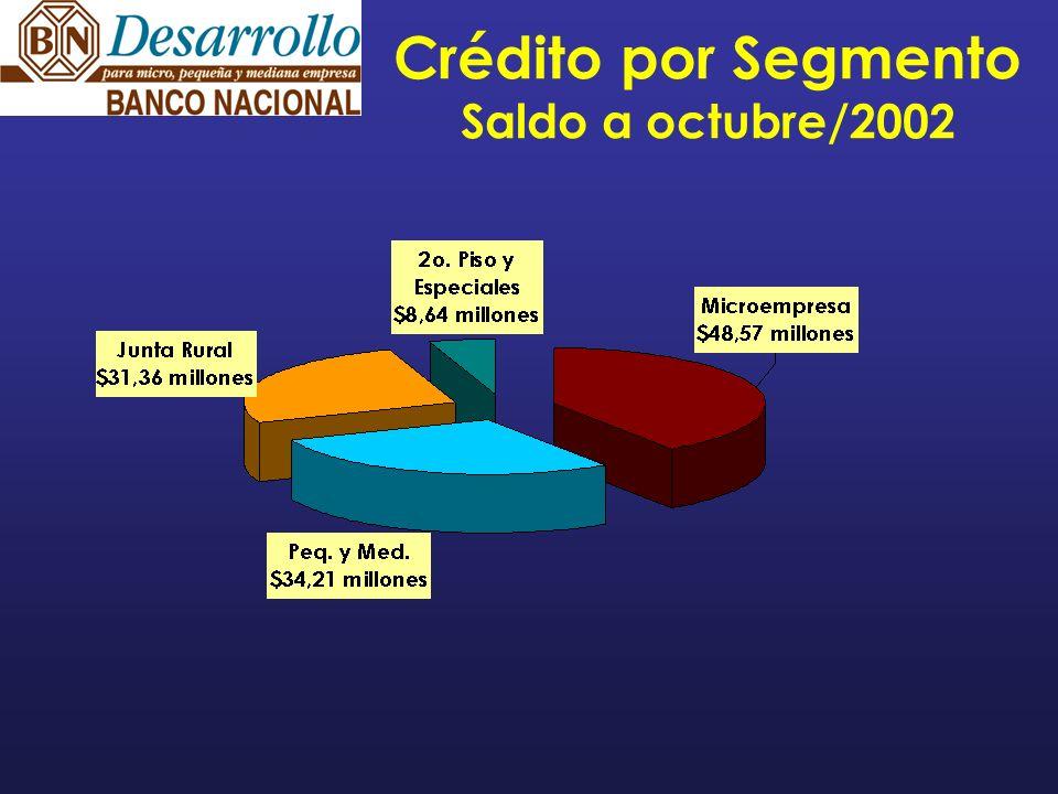 Calidad Cartera (Octubre 2002) Banco Nacional BN-Desarrollo Cartera atrasada 7.38% 3.91% Cartera al día 92.62% 96.09%
