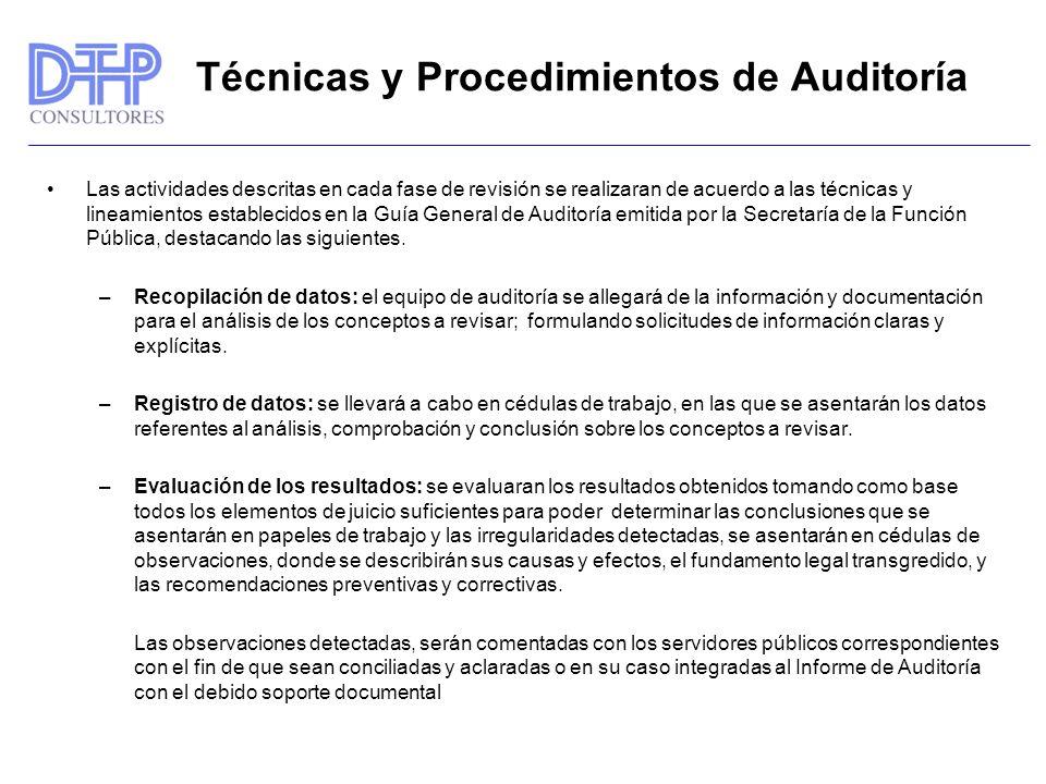 Técnicas y Procedimientos de Auditoría Las actividades descritas en cada fase de revisión se realizaran de acuerdo a las técnicas y lineamientos establecidos en la Guía General de Auditoría emitida por la Secretaría de la Función Pública, destacando las siguientes.