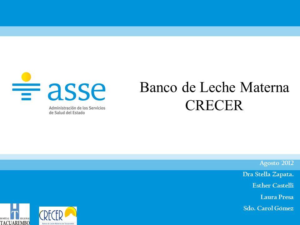 Banco de Leche Materna CRECER Agosto 2012 Dra Stella Zapata. Esther Castelli Laura Presa Sdo. Carol Gómez